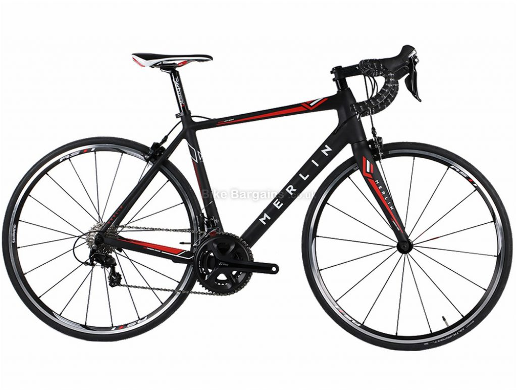 Merlin Cordite 105 Limited Edition Carbon Road Bike 52cm, Black, Red, Carbon, Calipers, 22 Speed, 700c