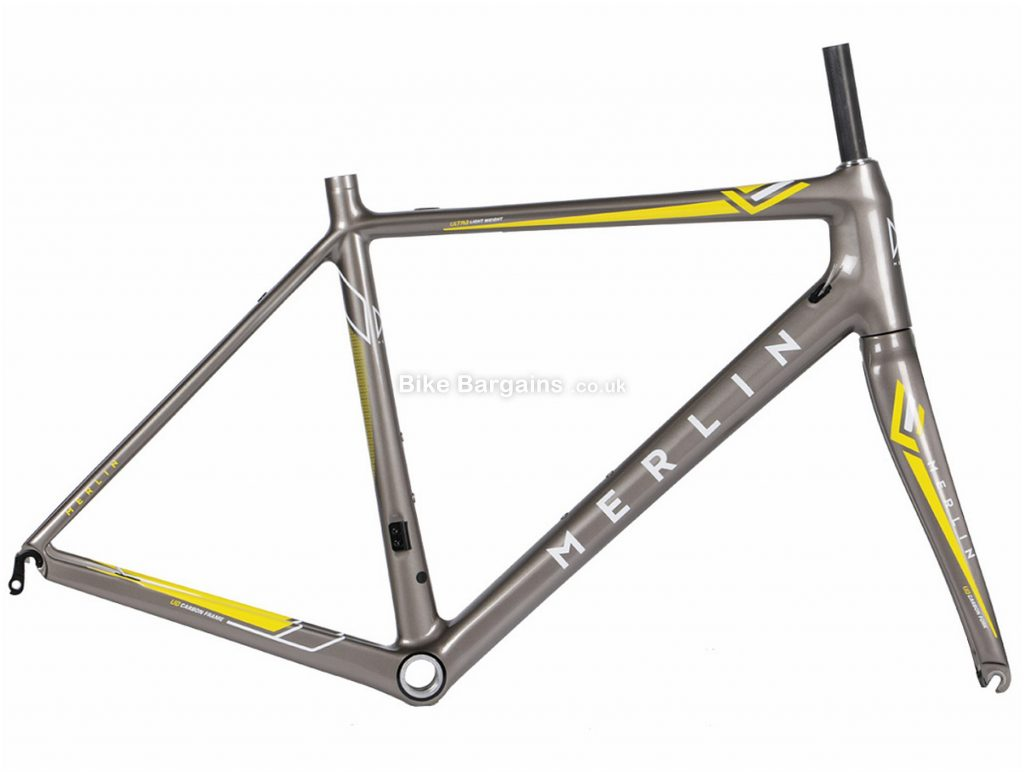 Merlin Cordite Carbon Fibre Road Frame 46cm,49cm,52cm,55cm,58cm, Grey, yellow, 700c, Carbon, Calipers