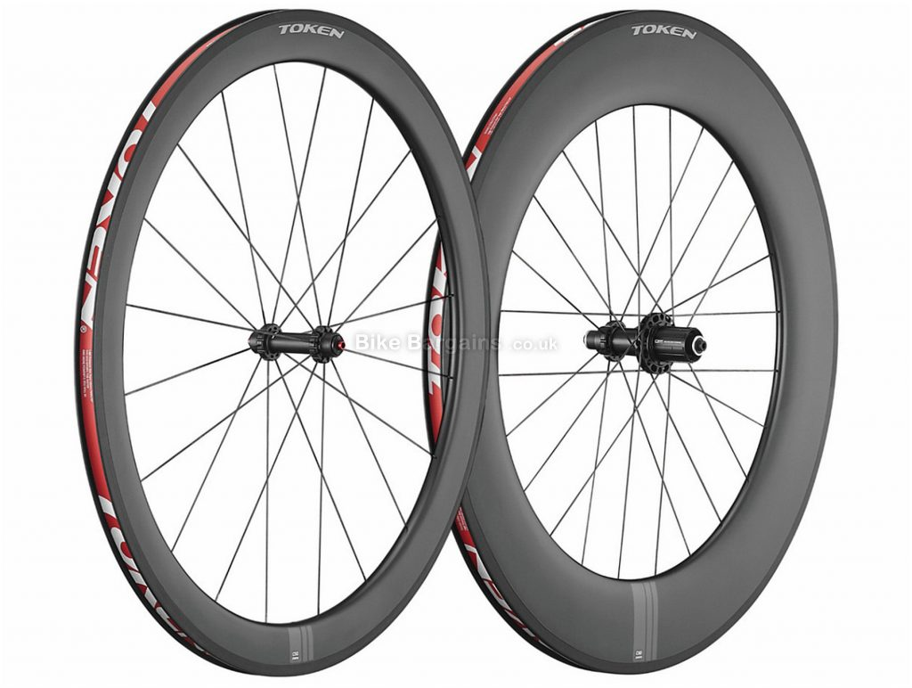 Token C590 Carbon Clincher Road Wheels 700c, Black, Carbon, 50mm front, 90mm rear, 1710g