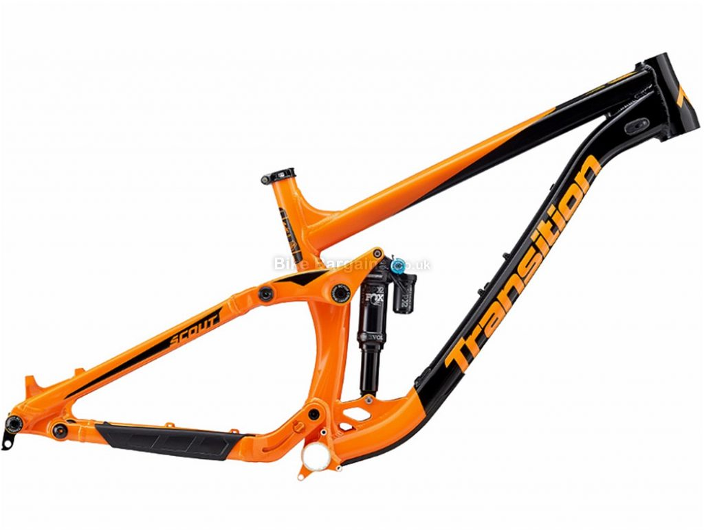 """Transition Scout Alloy Full Suspension MTB Frame 2018 XL, Black, Orange, 27.5"""", Alloy, Full Suspension, Disc"""