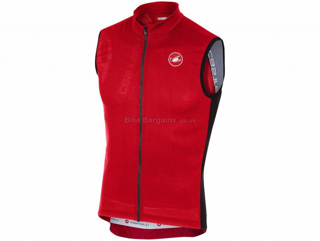 Castelli Entrata 3 FZ Sleeveless Jersey S,M,XL,XXL, Red, Sleeveless, 129g
