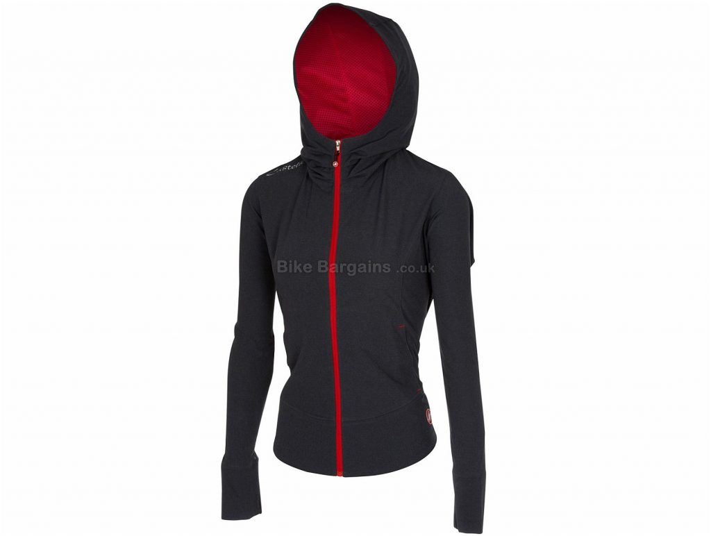 Castelli Ladies Race Day Track Jacket XS,S,M,L,XL, Black, Hooded, Long Sleeve