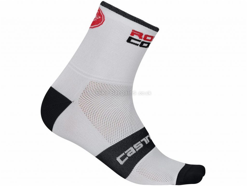 Castelli Rosso Corsa 13 Cycling Socks S,M, White, Black, Red, Grey
