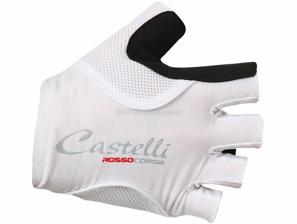 Castelli Rosso Corsa Pave Ladies Mitts S,L, Red, Black, White, Short Finger