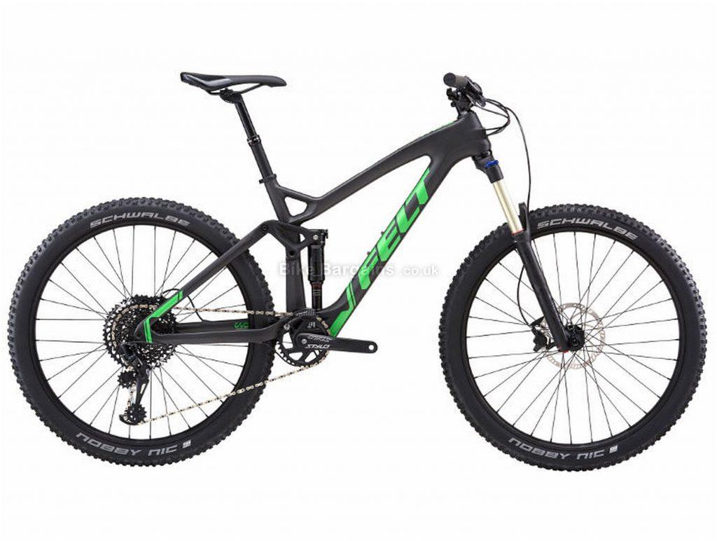 "Felt Decree 4 Carbon Full Suspension Mountain Bike 2018 18"",20"", Black, Green, 27.5"", 12 Speed"