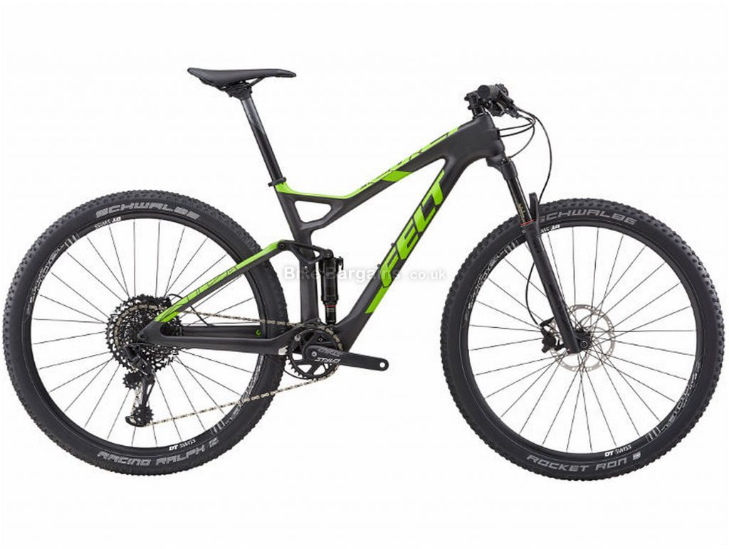 "Felt Edict 3 XC Carbon Full Suspension Mountain Bike 2018 20"", Black, Green, 29"", 12 Speed"
