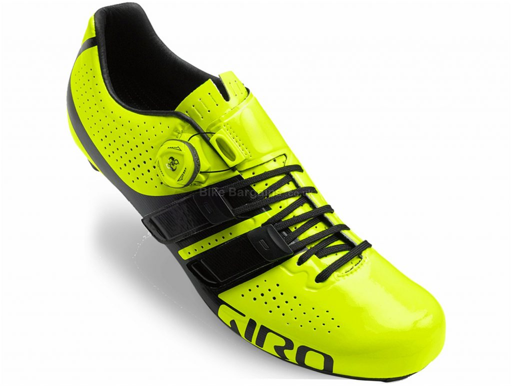 Giro Factor Techlace Road Shoes 43, Black, Yellow, Carbon, 210g