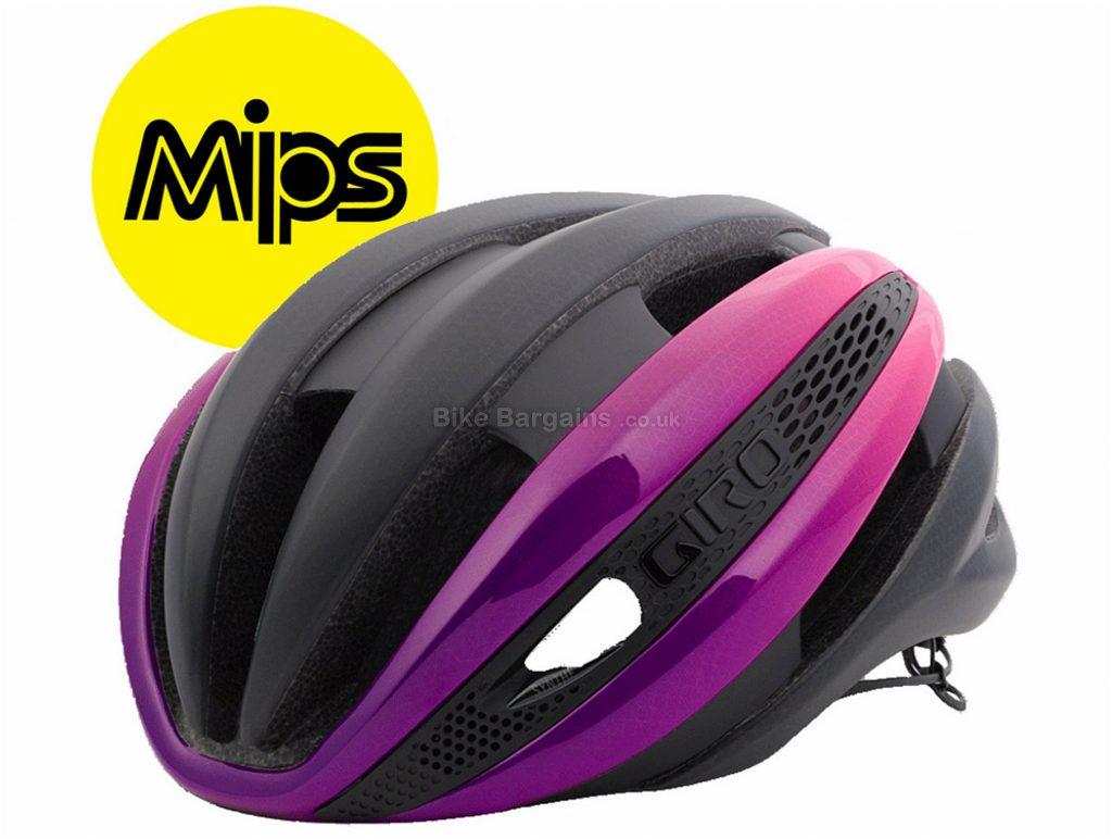 Giro Synthe MIPS Road Helmet 2018 L, Black, Pink, 26 vents, 245g