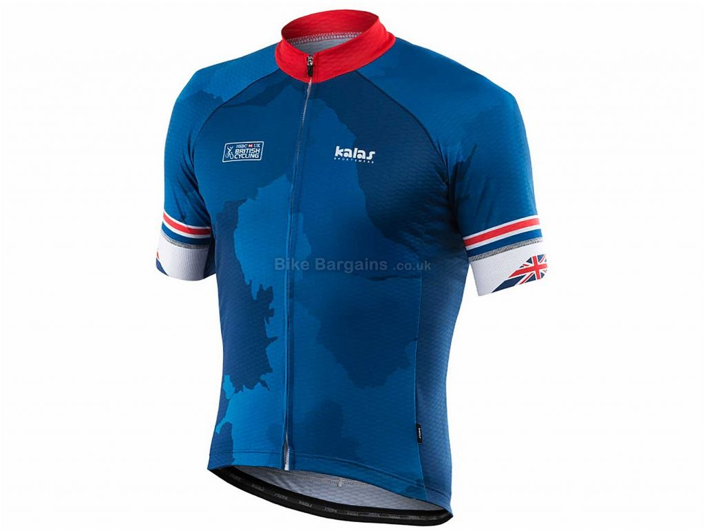 Kalas British Cycling Short Sleeve Pro Jersey M, Blue, Red, Short Sleeve