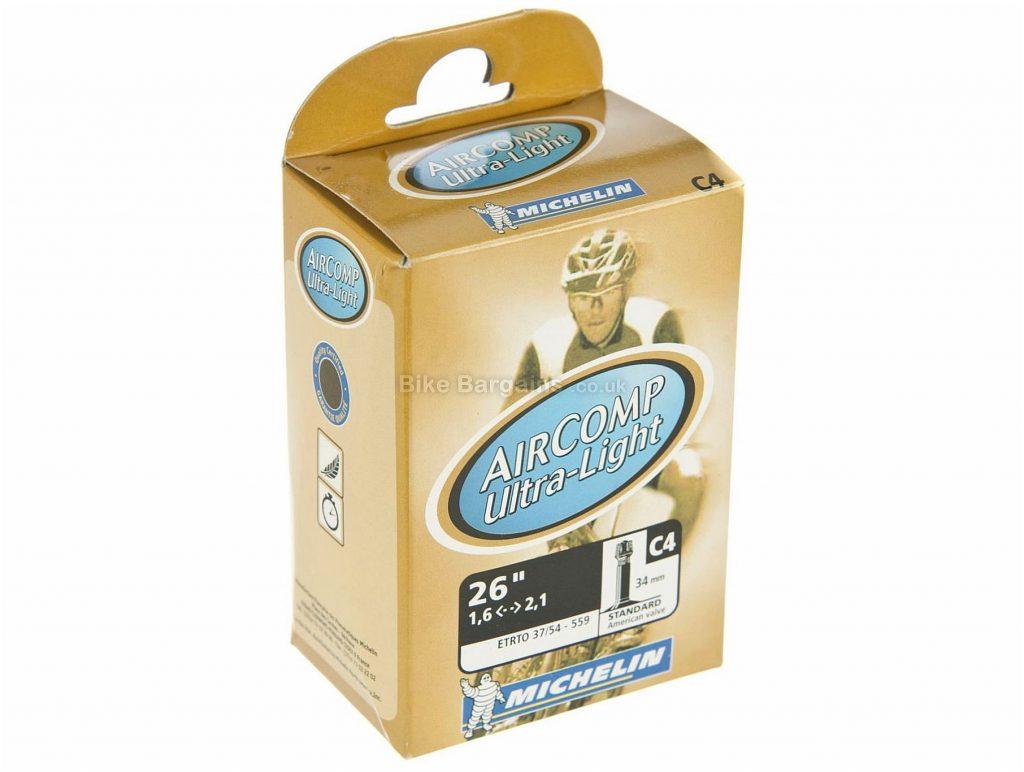"Michelin C4 AirComp Ultralight MTB Inner Tube 26"", Schrader, Presta, Black, 1.5"", 2.1"", 155g"