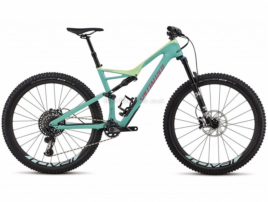 "Specialized Stumpjumper Expert Carbon 29 Full Suspension Mountain Bike 2018 M, Turquoise, Black, Carbon, 29"", 12 Speed"