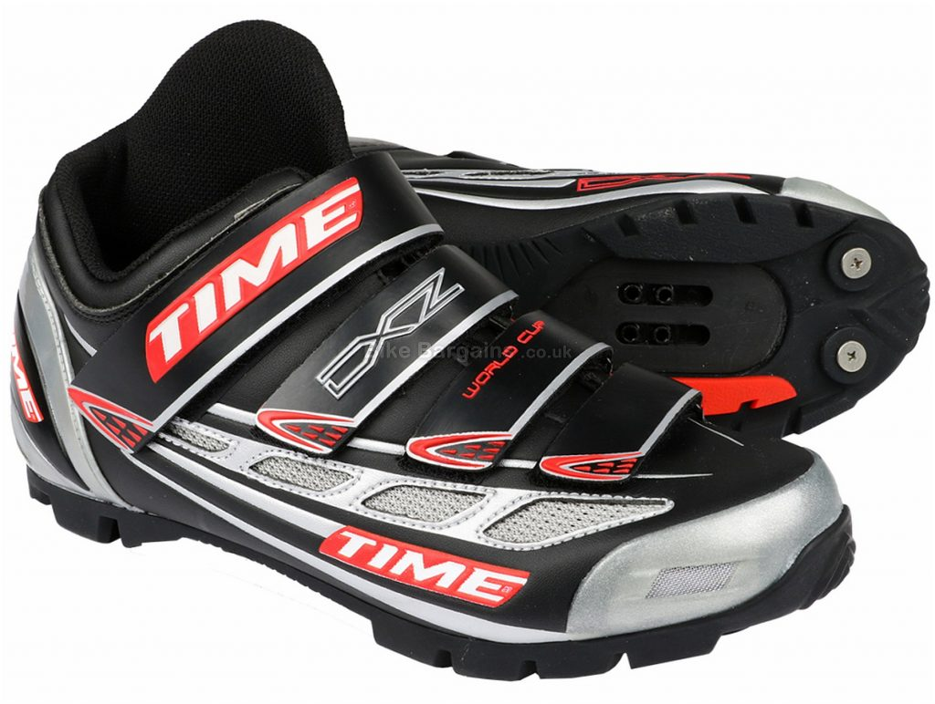 Time DXZ World Cup SPD MTB Shoes 42, Black, Silver, Red, velcro