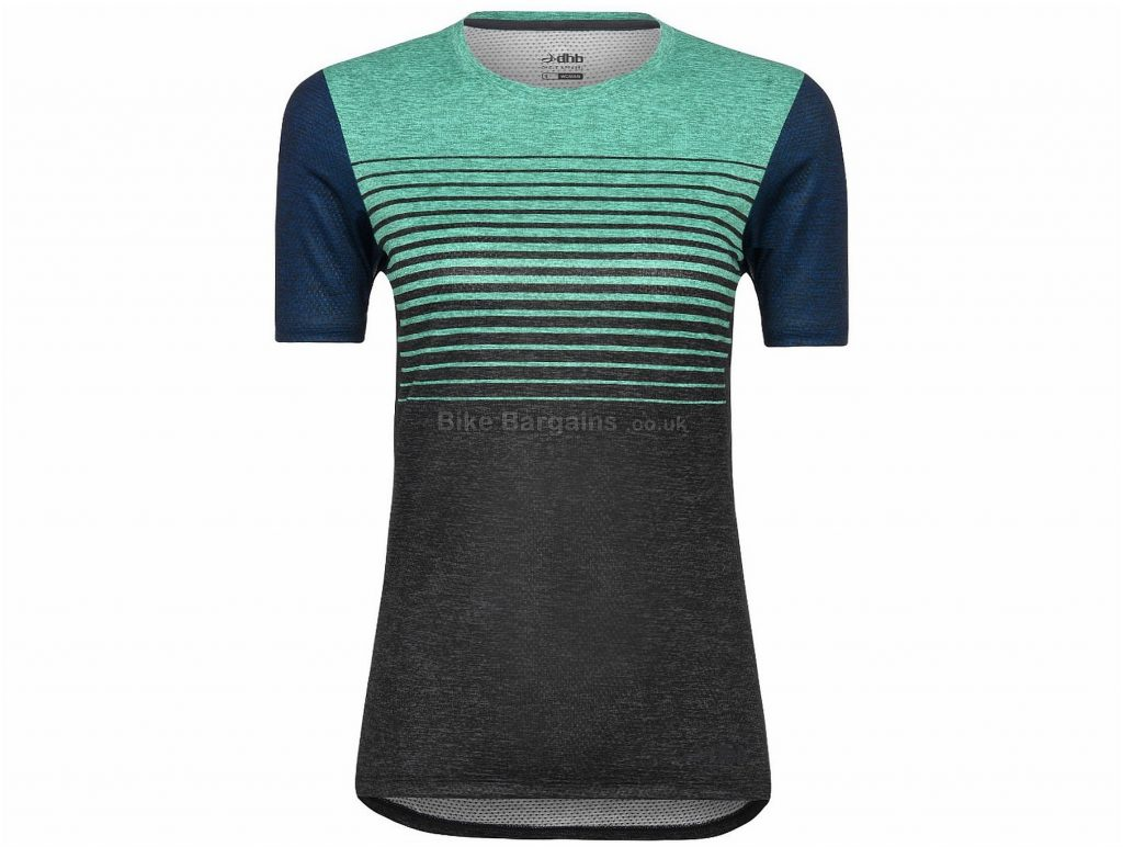 dhb Ladies Trail MTB Short Sleeve Jersey 8, Black, Turquoise, Blue, Short Sleeve