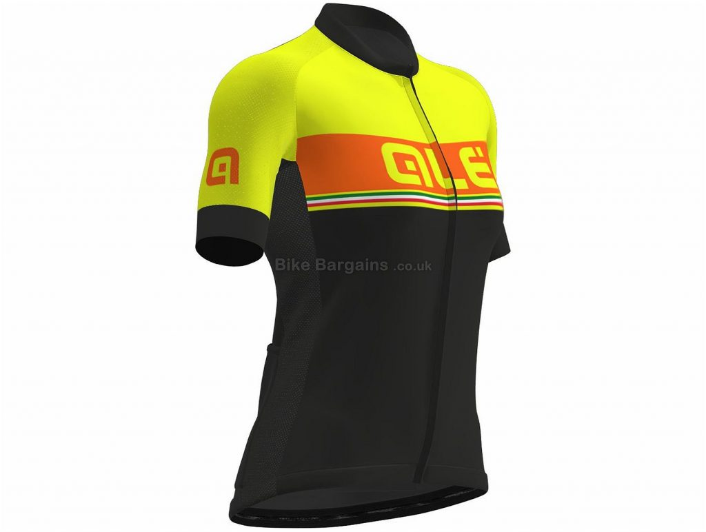 Ale Italia Stripe Ladies Short Sleeve Jersey 2018 M, Black, Yellow, Short Sleeve
