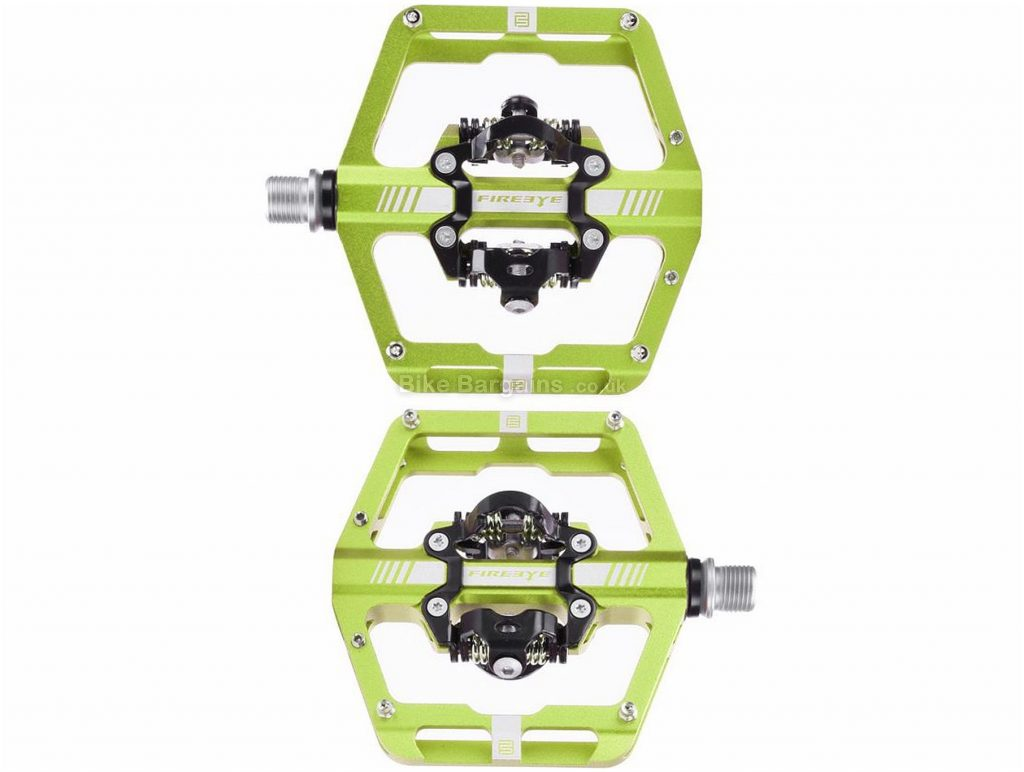 Fire Eye Hot Clip-L Alloy MTB Pedals Green, Purple, Alloy, 436g, 9/16""