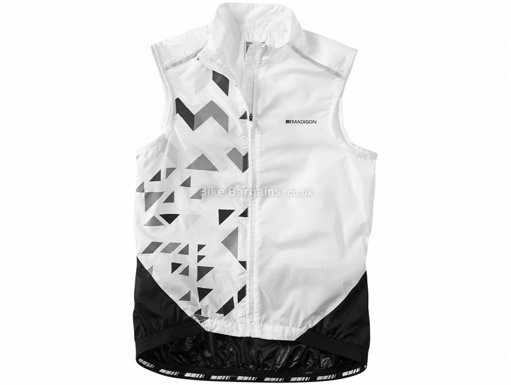 Madison Sportive Windproof Ladies Shell Gilet 16, White, Black