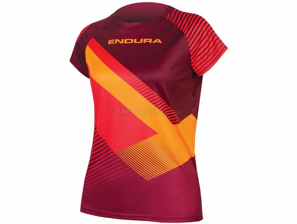 Endura SingleTrack Print Ladies Short Sleeve Jersey XS,S,M, Red, Orange