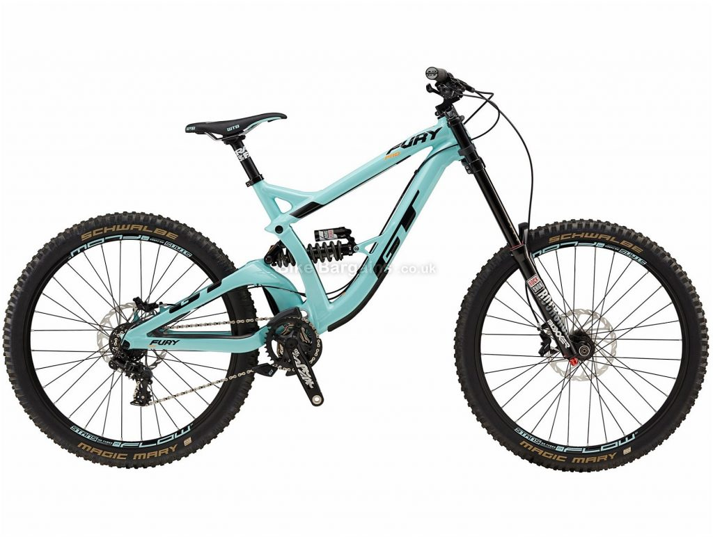 "GT Fury Pro 27.5 Alloy Full Suspension Mountain Bike 2018 M, Turquoise, Black, 27.5"", Alloy, 7 speed, Full Suspension"