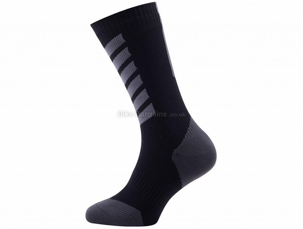 Sealskinz Mid Hydrostop Mid Length MTB Socks XL, Black, Green