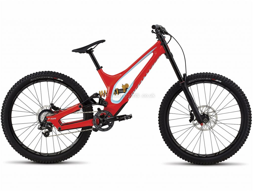 "Specialized Demo 8 27.5 Carbon Full Suspension Mountain Bike 2018 S, Red, Blue, 27.5"", Carbon, 10 speed, Full Suspension"