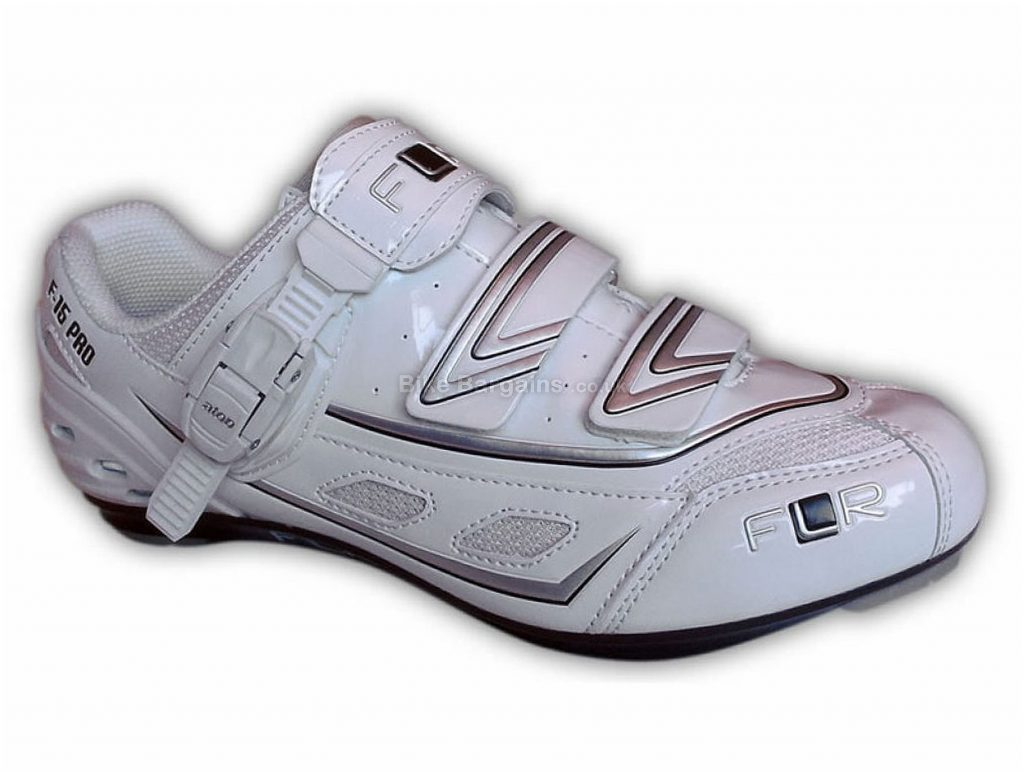 FLR F-15 Pro Road Shoes 43,44, White, Silver, Velcro, Buckle