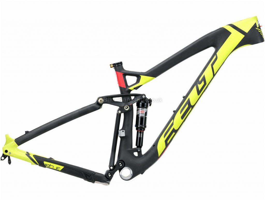 "Felt Virtue 1 Carbon Full Suspension MTB Frame 2016 16"", Black, Yellow, 29"", Carbon, Full Suspension"