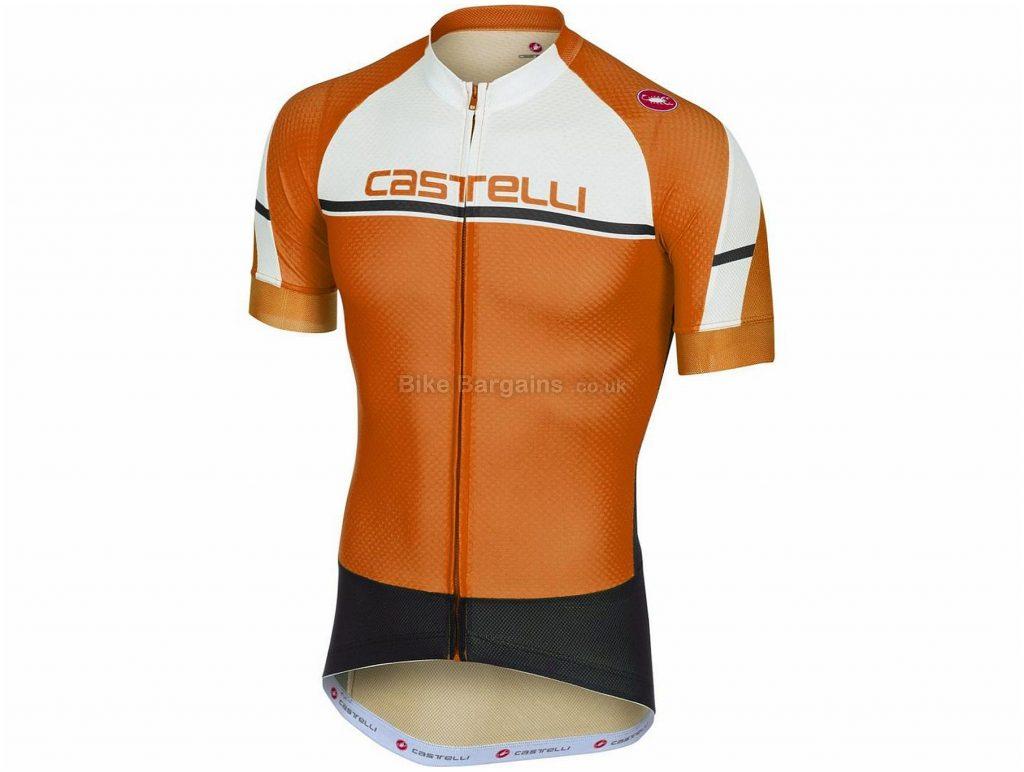 Castelli Distanza FZ Short Sleeve Jersey 2018 S, Orange