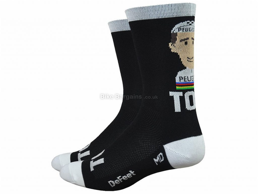 "Defeet 6"" Aireator Rich Mitch Tom Simpson Socks M, Black, White"