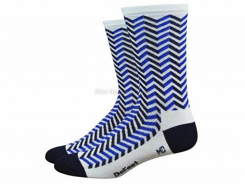 Defeet Aireator Barnstormer Vibe Socks S, White, Blue, Black