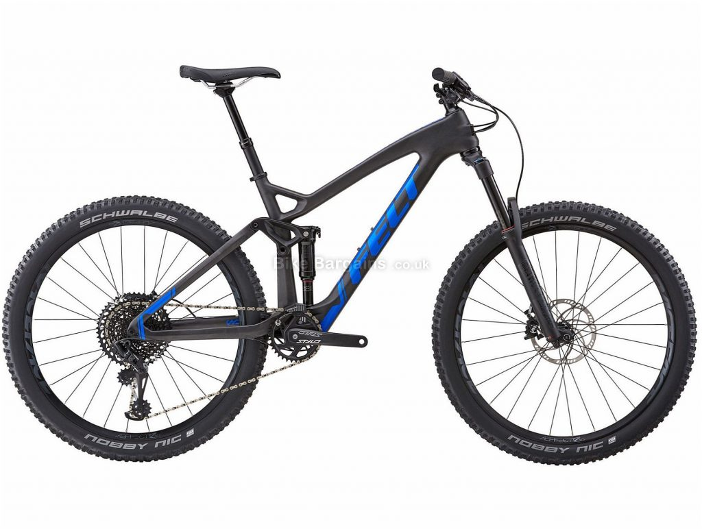 "Felt Decree 3 27.5"" Carbon Full Suspension Mountain Bike 2018 16"", Black, Blue, 27.5"", Carbon, 12 Speed, 12.36kg"