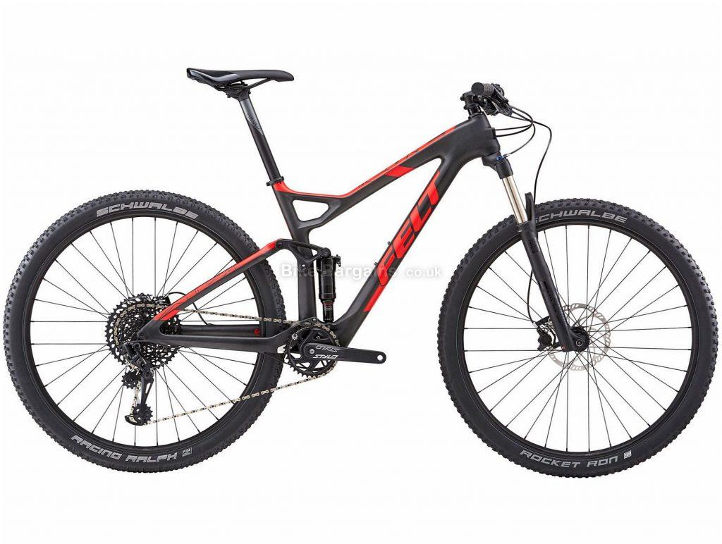 "Felt Edict 4 XC 29"" Carbon Full Suspension Mountain Bike 2018 16"", Black, Red, 29"", Carbon, 12 Speed"