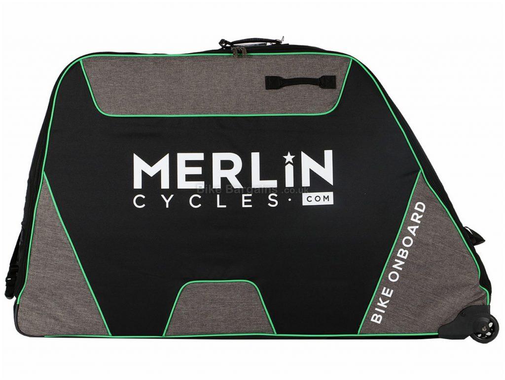 Merlin Cycles Elite Travel Bike Bag 140cm, 30cm, 85cm, Velcro, Nylon, 8.5kg, Black, Green, Grey