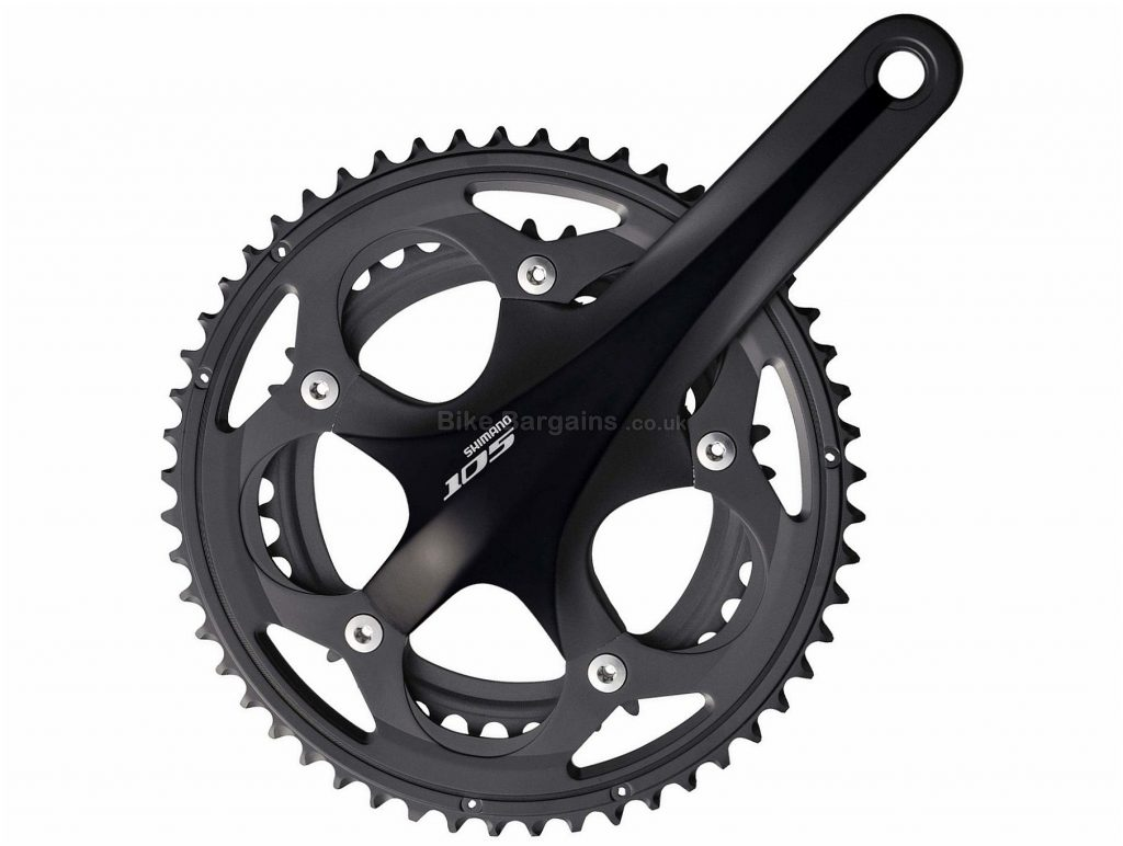 Shimano 105 5750 10 Speed Double Chainset 165mm, 170mm, 172.5mm, 175mm, Black, 10 Speed, Double, 845g, Road