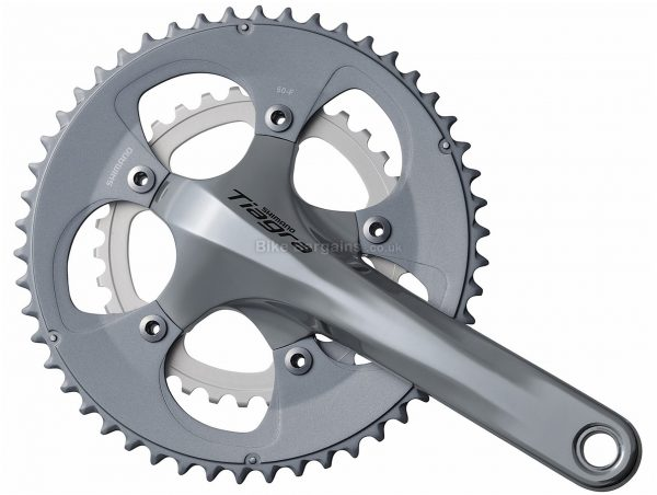 Shimano Tiagra 4650 10 Speed Double Chainset 170mm, 175mm, Silver, 10 Speed, Double, 907g, Road