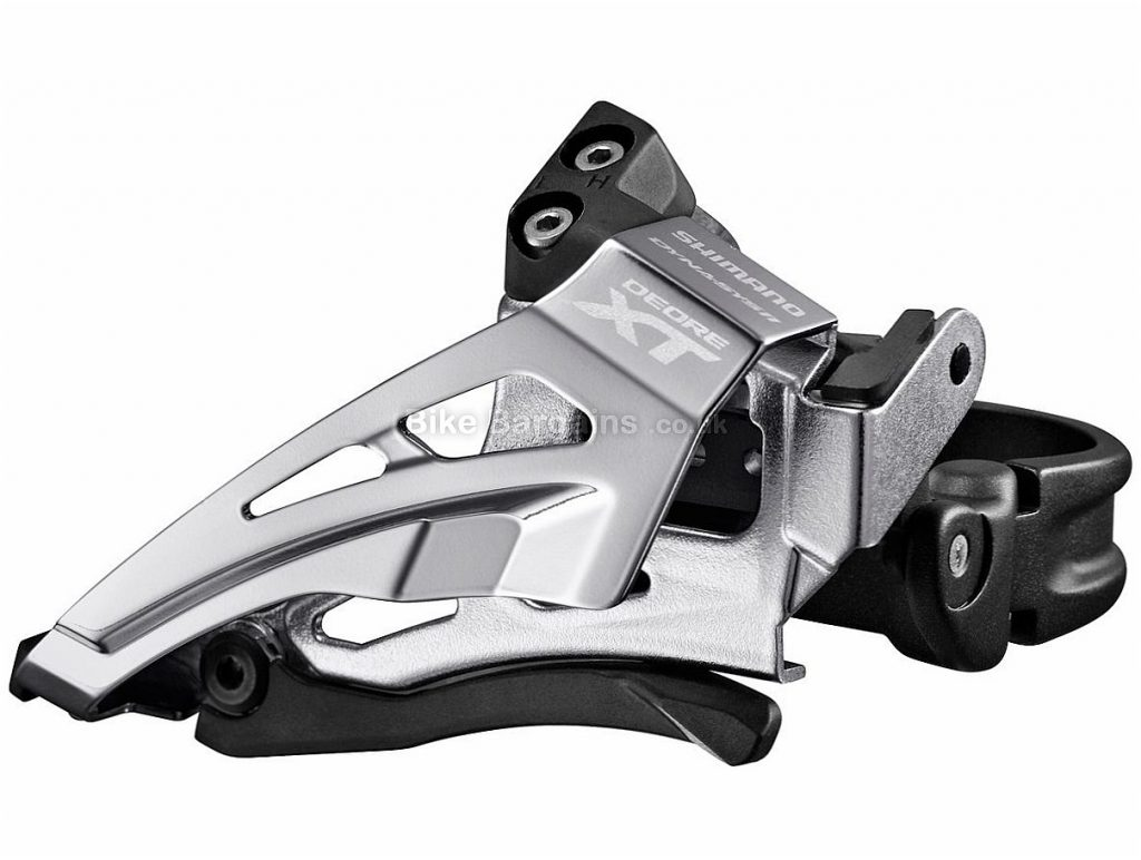 Shimano XT M8025 11 speed Double Front Derailleur 28.6mm, 31.8mm, 34.9mm, Black, Silver, 11 Speed, High Clamp, Alloy