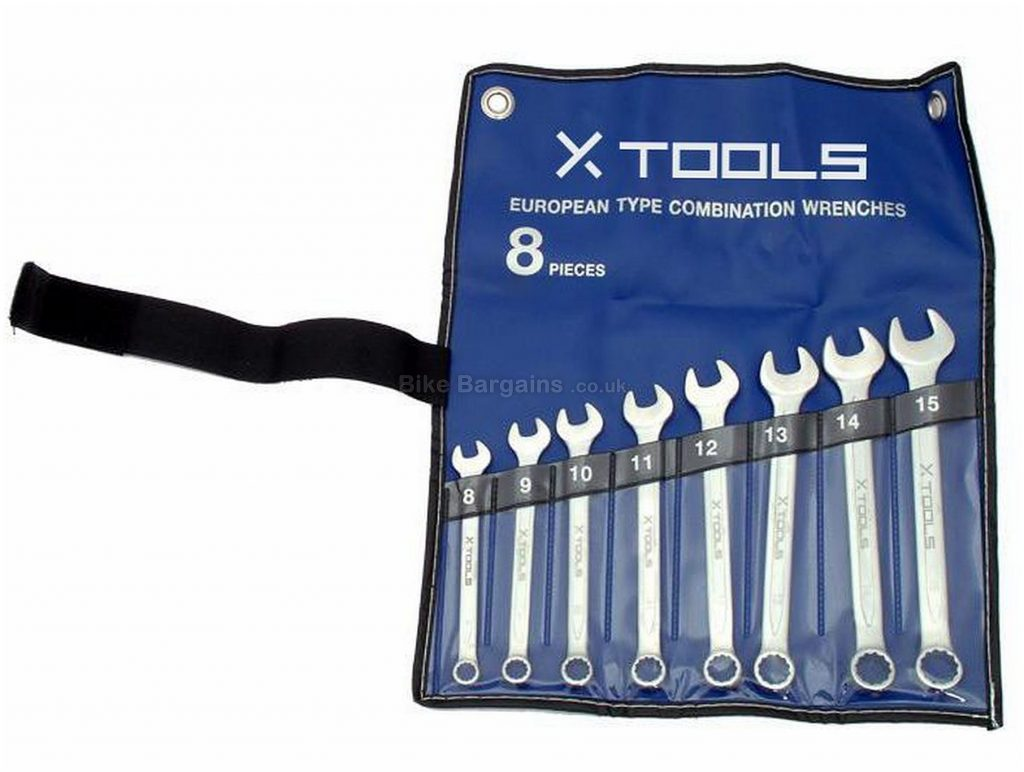 X-Tools Spanner Set 8mm, 9mm, 10mm, 11mm, 12mm, 13mm, 14mm, 15mm, 16mm, Steel, Polyester, Black, Blue, Silver, Wrenches