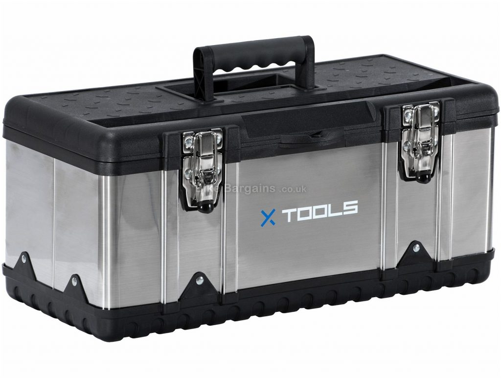 X-Tools Pro Stainless Steel Toolbox 1.8kg, 46cm, 19.5cm, 20cm, 5cm , Steel, Plastic, Black, Silver, Tool Storage