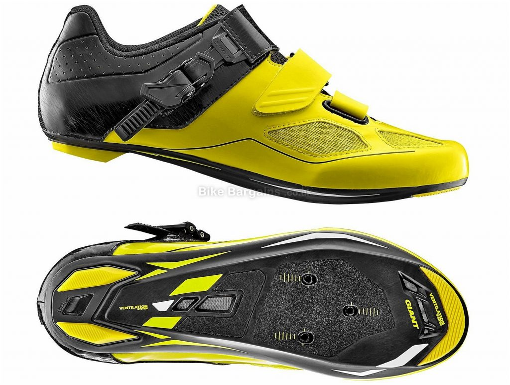 Giant Phase Carbon Road Shoes 2018 40, Yellow, Black, Buckle, Velcro, Carbon