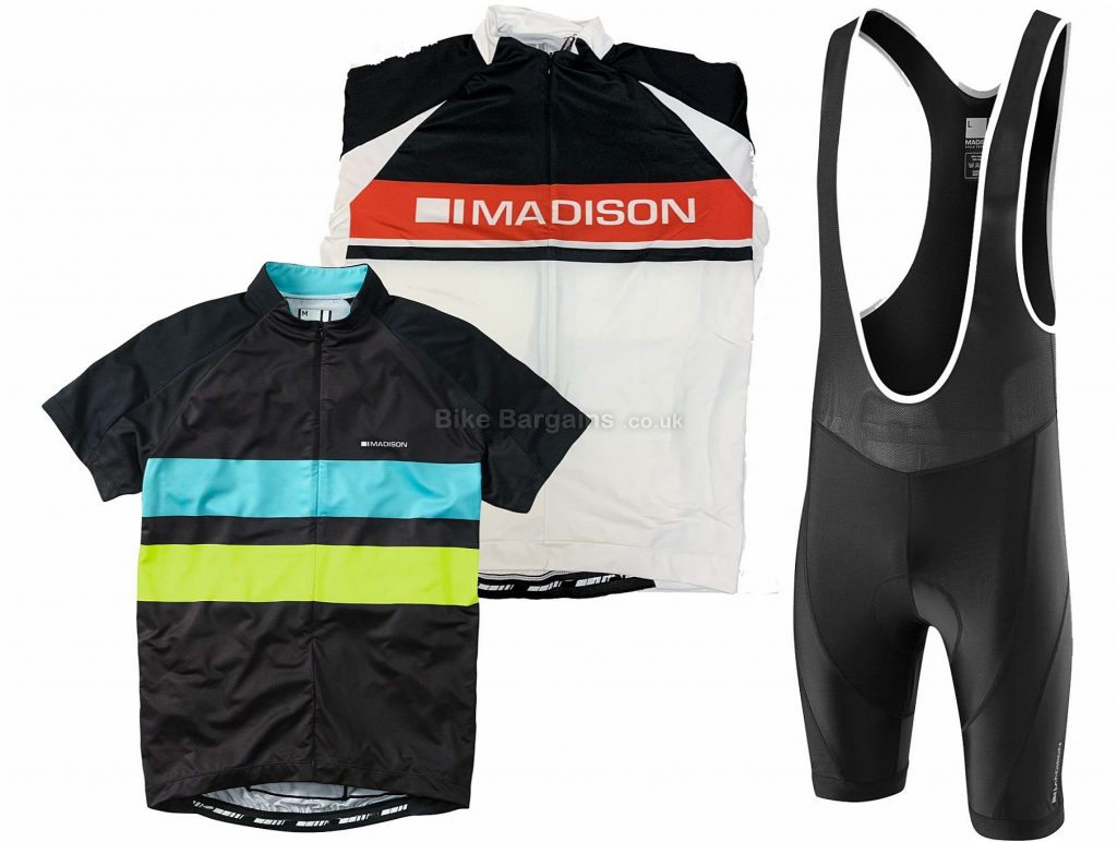 Madison Sportive Short Sleeve Jersey and Bib Shorts Set S, White, Red, Black, Blue