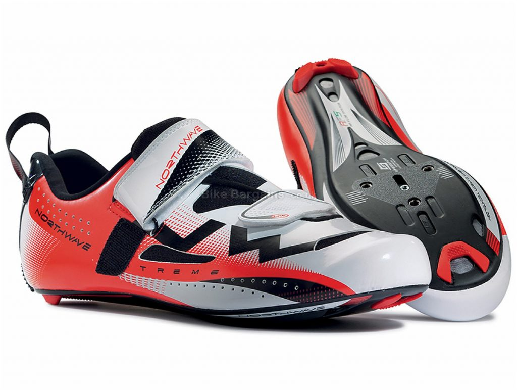 Northwave Extreme Triathlon Road Shoes 2018 47, White, Red, Velcro, 218g, Carbon
