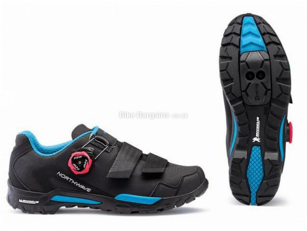 Northwave Outcross 2 Plus Ladies MTB Shoes 2019 38, Black, Blue, Boa, Velcro, 460g, Nylon