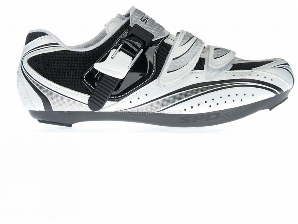 Shimano R087 Road Shoes 52, White, Black, Velcro, Buckle, 498g, Nylon