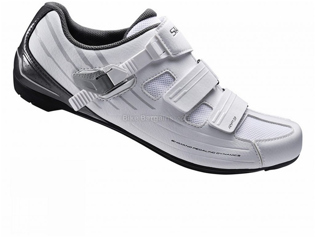 Shimano RP300 SPD-SL Road Shoes 45, White, Buckle, Velcro, 527g, Nylon