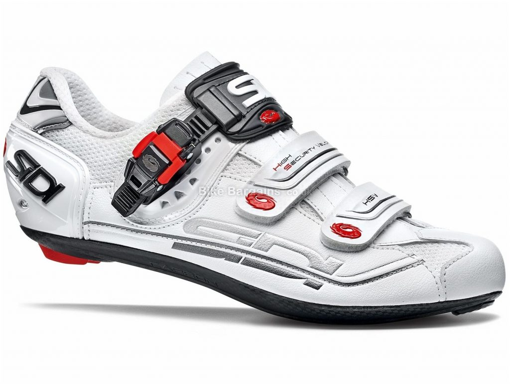Sidi Genius 7 Mega fit Road Shoes 49, White, Velcro, Buckle, Carbon