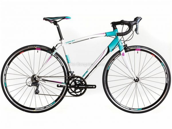 Calibre Loxley Ladies Alloy Road Bike 2019 49cm, 54cm, Turquoise, White, Alloy, 8 Speed, Calipers, 10.9kg, Ladies