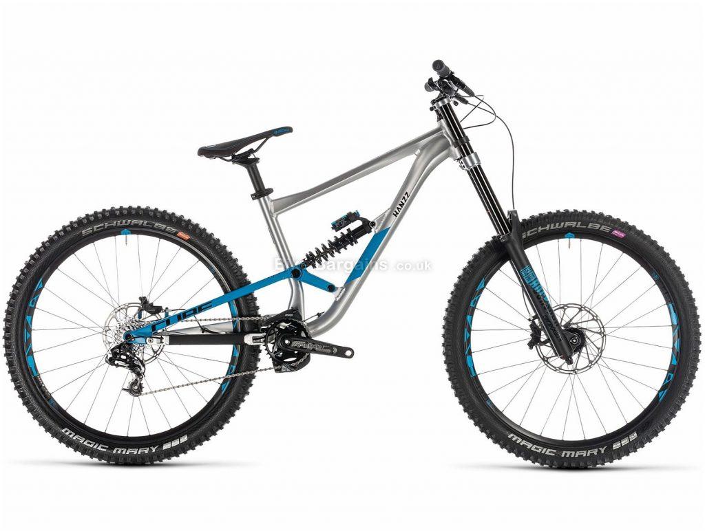 "Cube Hanzz 190 SL 27.5"" Alloy Full Suspension Mountain Bike 2019 16"", Silver, Blue, 27.5"", Alloy, 10 Speed, Full Suspension, 16.2kg"