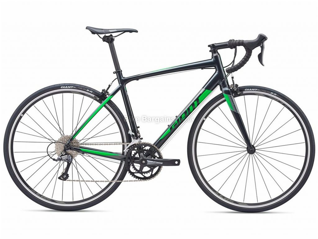 Giant Contend 2 Alloy Road Bike 2019 M, Black, Green, Alloy, 8 Speed, Calipers, Men's