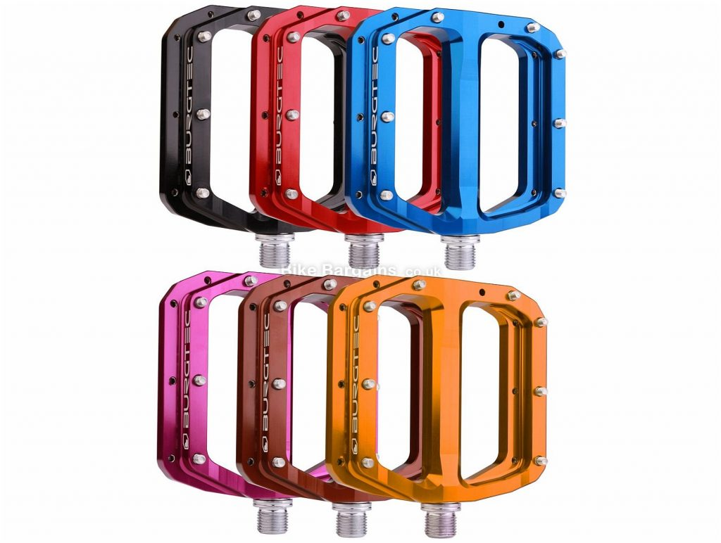 "Burgtec Penthouse MK4 Titanium Flat Pedals Flat, MTB, 370g, Alloy, Titanium, Black, Blue, Red, Purple, Brown, Orange, 9/16"""