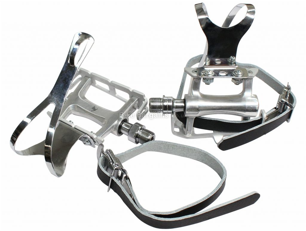 """FWE Track Clip Pedals Flat, MTB, Road, 400g, Alloy, Black, Silver, Brown, 9/16"""""""