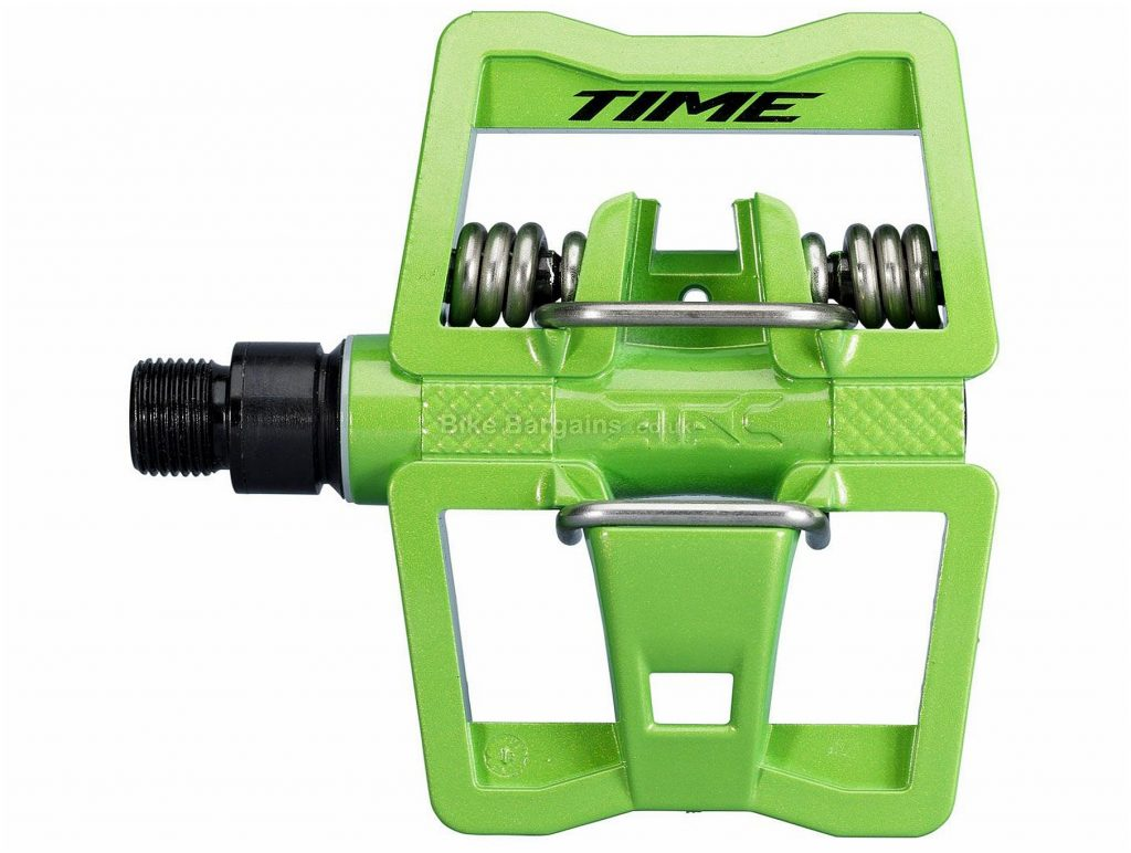Time ATAC Link Pedals Flat, Clipless, MTB, 348g, Steel, Composite, Green, 9/16""